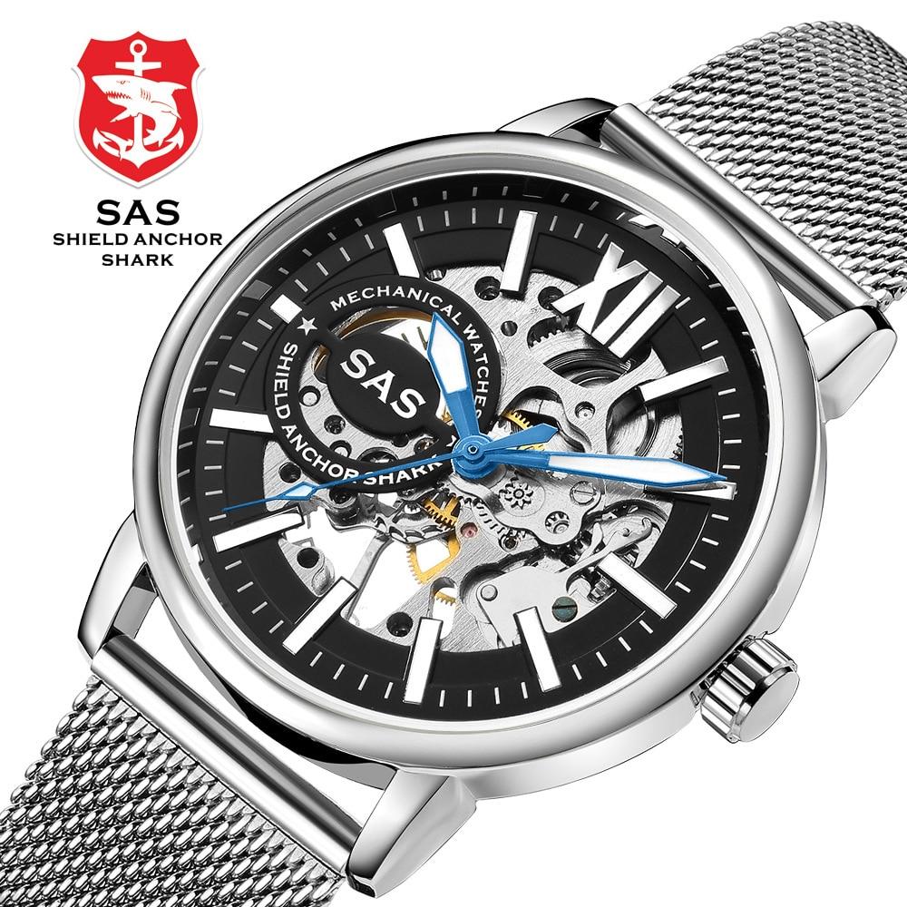 Luxury Men's Roman Digital Display Mechanical Watch Black Dial Stainless Steel Net Strap Men's Business Casual Watch Relogio