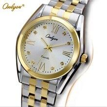 Onlyou Marca de Lujo Relojes de Cuarzo para Mujer Para Hombre de Moda Reloj de Oro de Acero Inoxidable niñas Vestido Reloj Despertador 8819