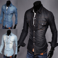 Spring Autumn Wear Men Jeans Shirt Denim Jeans Wash Blue Long-Sleeve Shirt High Quality 3 colors size M - XXL