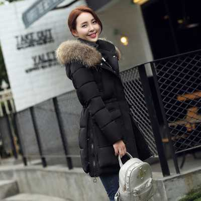 ФОТО New 2016 Fashion Winter Jacket Women Large Real Raccoon Fur Collar Hooded Jacket Thick Coat For Women Outwear Parka A3857