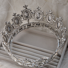 2016 Royal Chic King Silver Man Woman Rhinestone Bridal Full Crown Huge Giant Byzantine Luxury For Wedding