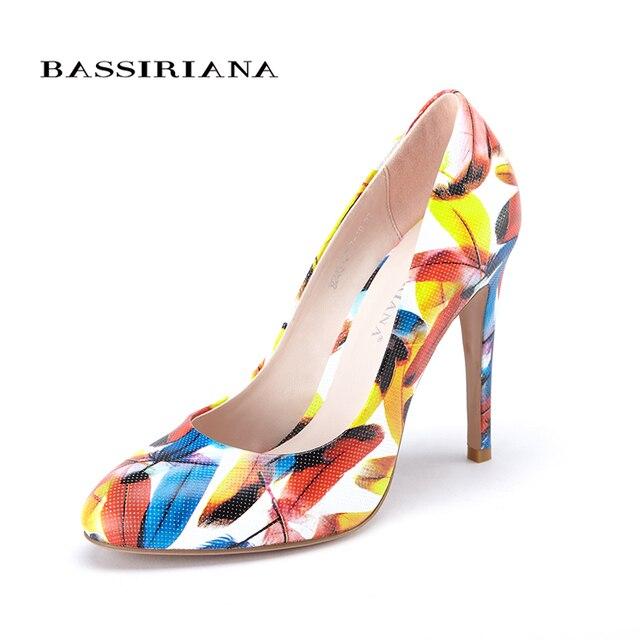 Натуральная кожа Туфли 2017 туфли на каблуках женщина Многоцветный женская обувь 35-40 Круглый Носок Мода Высокий каблук шпилька обувь Бесплатная доставка BASSIRIANA