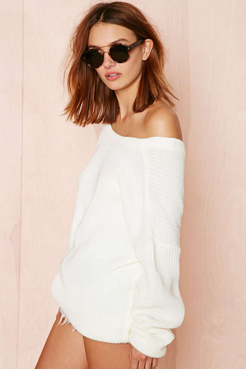 Blouse crochet woman oversize sexy off shoulder sweaters pullover ...