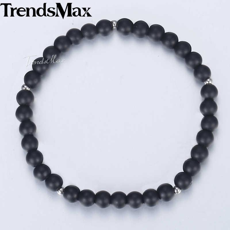Trendsmax 6mm Black Glass Beads Bracelets For Men Women Elastic Stainless Steel Bracelet 2018 Men Jewelry Gifts For Women DB59