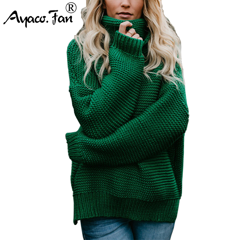 Plus Size Coarse Pullovers 2019 Autumn New Turtleneck Jumper Female Women Warm Sweater Thick Winter Knitted Oversized Sweaters