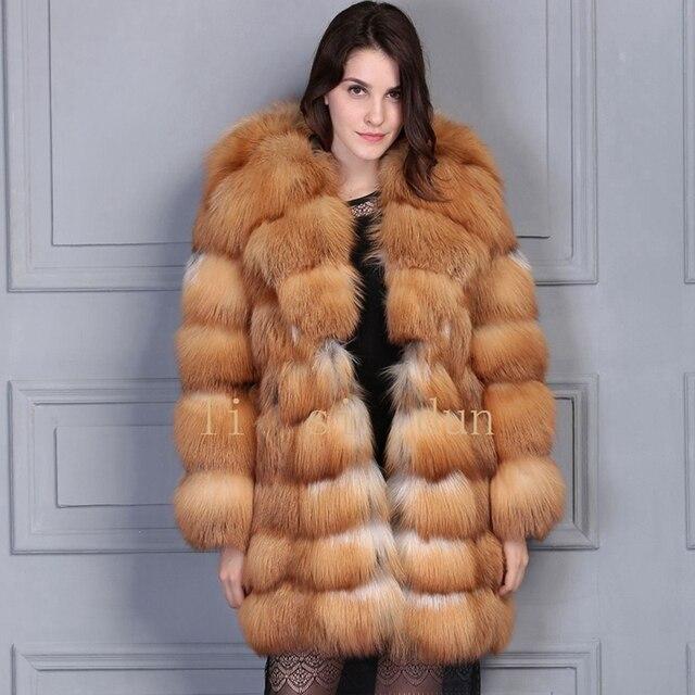 2017 lisidun natural fox coat Silver Fox Luxury fur garment red fox fur jacket long sleeveFur hat Hooded Large lapel vestido dhl