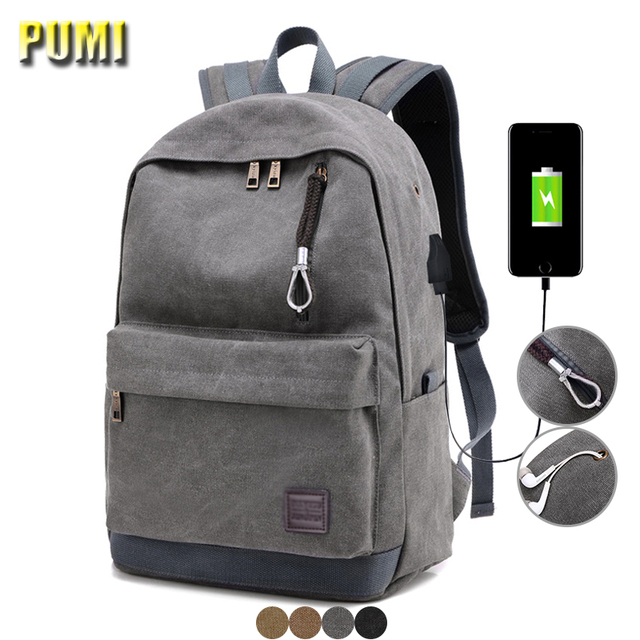 e86b8a3ca31e External USB Charge Canvas Backpack Notebook Computer Bag Men Women  Waterproof Laptop Backpack College Student Bag for Teenagers