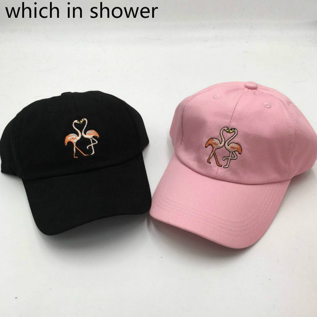 Which in shower cartoon embroidery flamingoe dad hat fashion adjustable  cotton baseball cap for women men snapback sun hat bones 4b679f583f1b