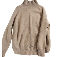 women's loose caramel high collar thick knit sweater winter woman sweater knitting pullovers