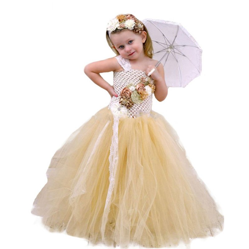 Flower Girl Lace Tulle Tutu Dress Couture for Kids Satin Shabby Flower One Shoulder Dress with Lace Headband Girls Pearl Clothes