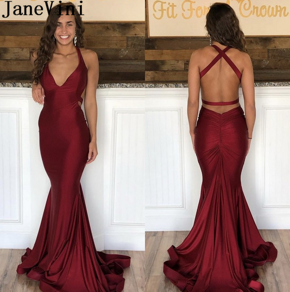 JaneVini Burgundy Sexy   Prom     Dresses   2019 Backless Mermaid Long Women   Dress   Evening Party   Prom   Gowns V-Neck Party Wear Sleeveless