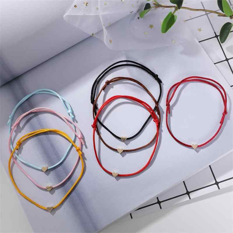 Gold Color Heart Bracelet Handmade Jewelry Multicolor Rope Adjustable String Lucky Bracelet For Women Children