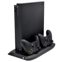 Dock Mount Vertical Stand for Xbox One X Game Console with Cooling Fan + Wireless Game Controller Charger + Charging Station
