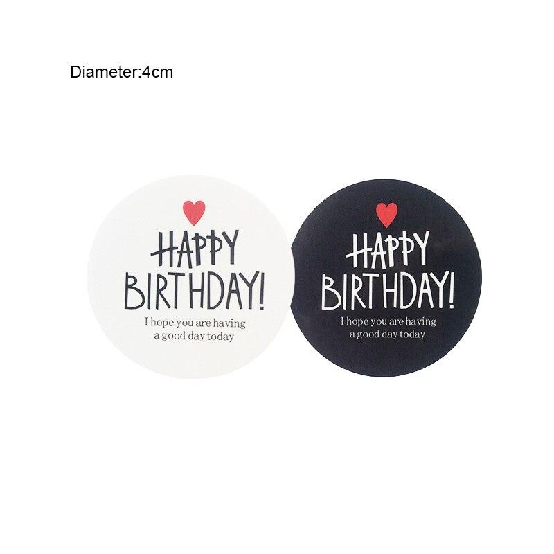 80 pcs hitam putih seri ulang tahun hadiah label stiker perekat kraft segel stiker untuk kue lucu diy kerja di alat tulis sticker dari kantor