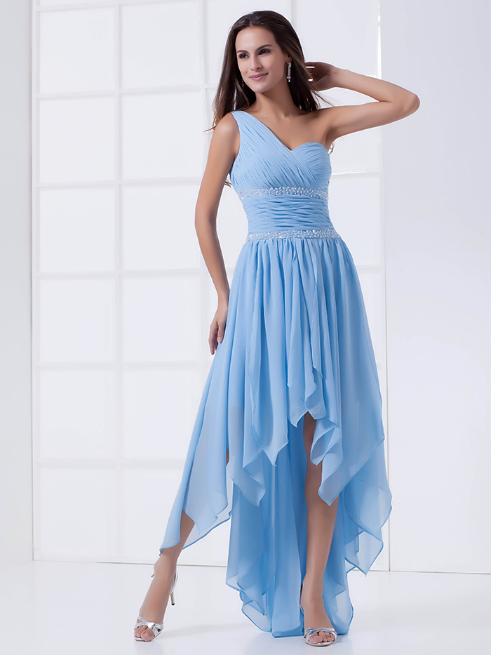 2017 New Summer Cheap Bridal Little Blue High Low A-Line Chiffon One Shoulder Sweetheart Girls   Bridesmaid     Dress   For Wedding