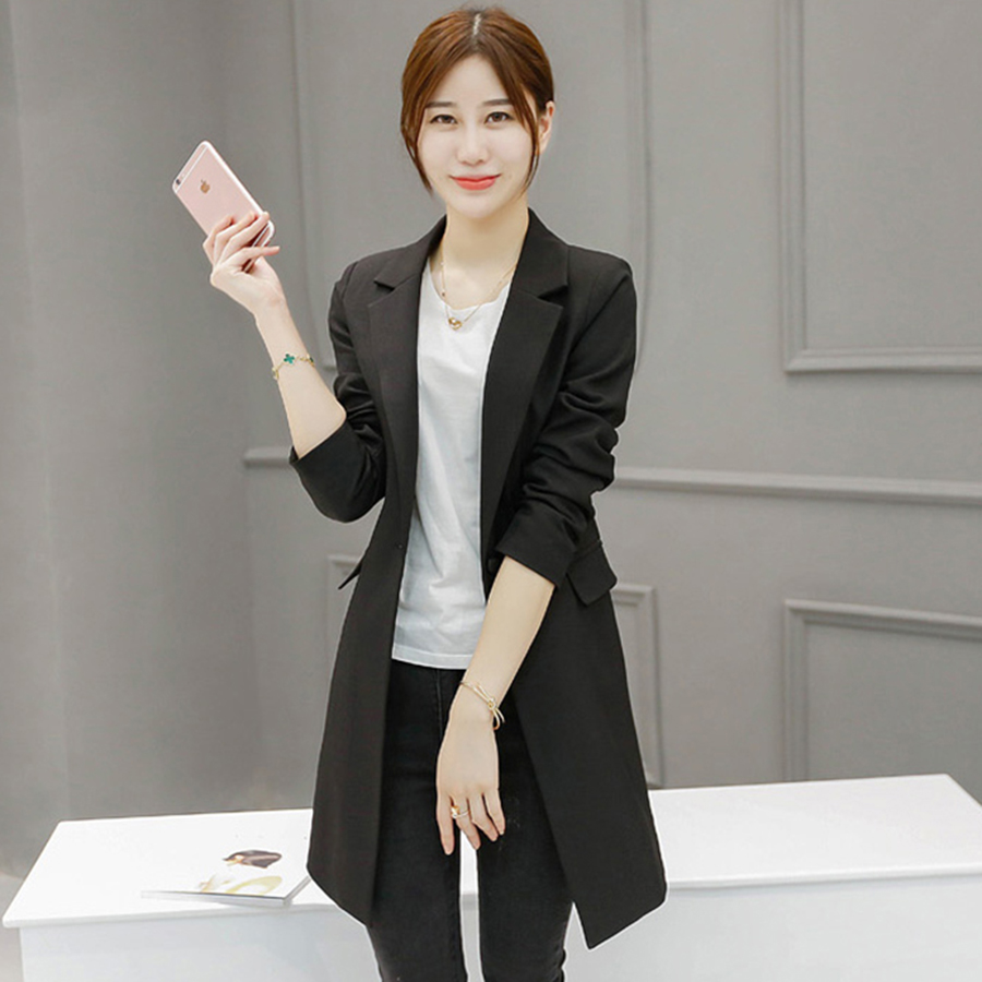 Slim Women Blazers And Jackets 2017 Plus Size Office Suits Ladies Blazer Feminino Manga Longa Female Jackets Long Coat 50N0420