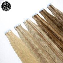"""Феи remy волосы 2,5 г/шт. человеческие волосы для наращивания на ленте 1"""" 18"""" 2"""" 22"""" remy волосы на ленте из полиуретановой кожи Weft бесшовные человеческие волосы 20 шт"""