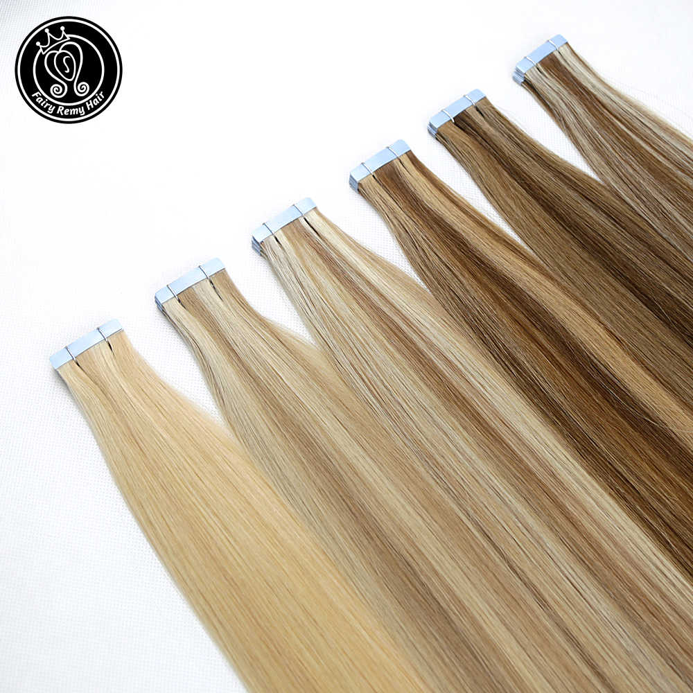 "Fairy Remy Hair 2.5g/piece Tape In Human Hair Extensions 16"" 18"" 20"" 22"" Remy Hair On Tape PU Skin Weft Seamless Human Hair 20pc"