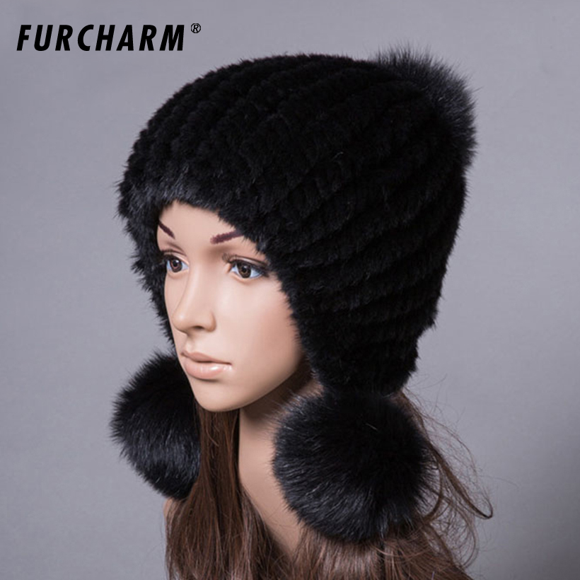 100% Real Mink Fur Hat for Women Winter Knitted Caps Beanies with Fox Fur Pom Poms Natural Mink Fur Thick Women's Winter Hats