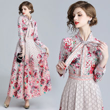 2019 Spring Summer Fall Runway Letter Floral Print Collar Ribbon Tie Neck Long Sleeve Women Party Casual Empire Waist Maxi Dress(China)