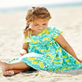 Summer Girl Boho Beach Dress Kids Retro Short Sleeve Small Lemon Print Cotton sundress