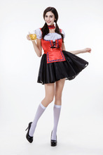 Halloween font b cosplay b font Beer Festival green midi vestido red necklace dress Female Maid