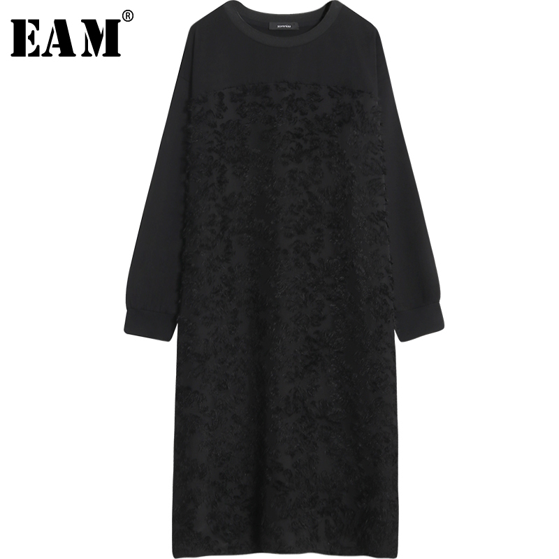 [EAM] 2018 Новый осень-зима шею длинным рукавом черное кружево жаккард стежка шифон Свободные длинное платье Для женщин моды прилив JH234