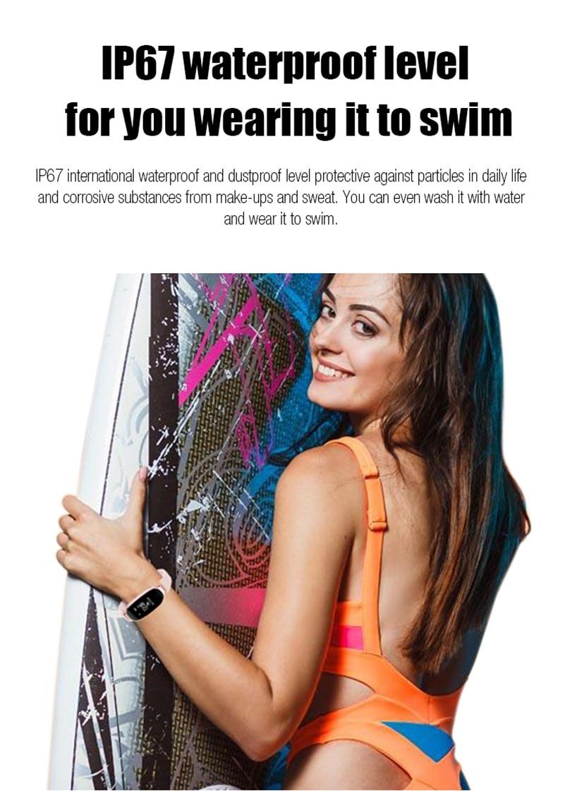 GZDL Fashion Women IP67 Bluetooth Smart Wristband S3 Heart Rate Monitor Fitness Tracking Reminder Pedometer Bracelets WT8174
