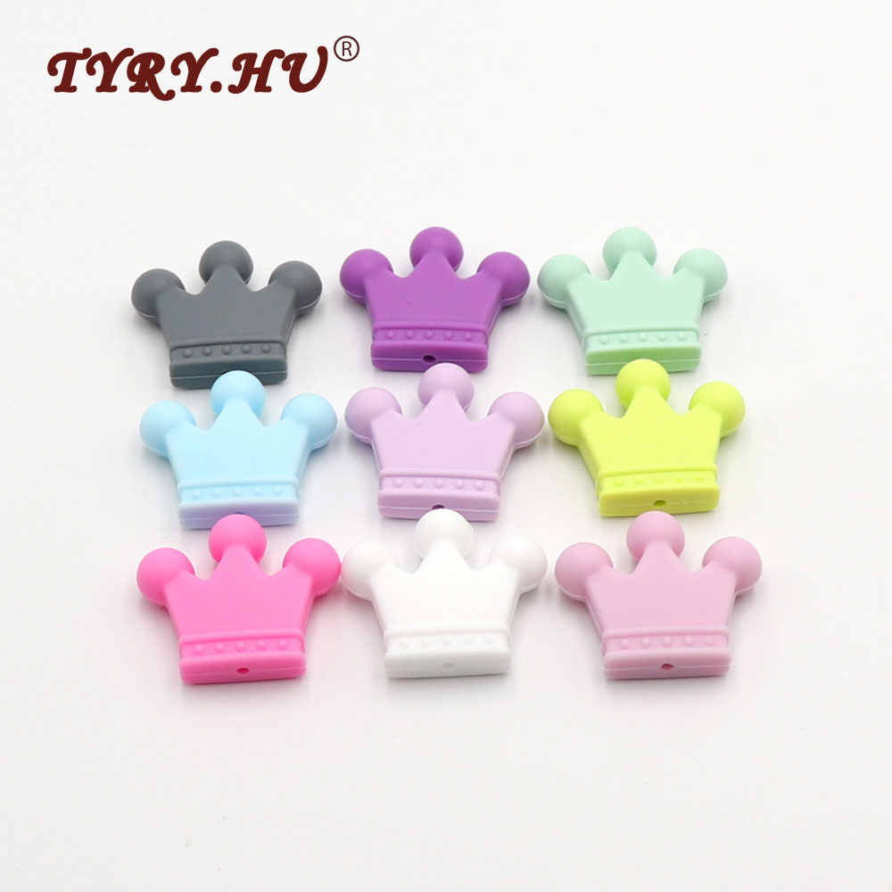 TYRY.HU 5pc Crown Silicone Baby Teething Toys Colorful Baby Nursing Teethers DIY Bracelet Beads Necklace Food Grade 35*30*7mm