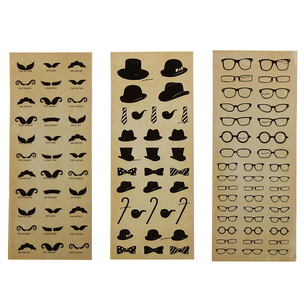 3pcs Fashion Stickers Lovely Novelty Craft Glasses Scrapbook Card for Kids Mustache Diary Planner Books Patste Notebook DIY Gift
