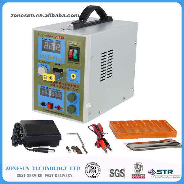 ZONESUN  LED Pulse 220V Battery Spot Welder 788H Welding Machine 18650 Battery Charger 800 A 0.1 - 0.2mm Battery Spot Welder 1 9kw sunkko led pulse battery spot welder 709a soldering iron station spot welding machine 18650 16430 14500 battery 220v 110v