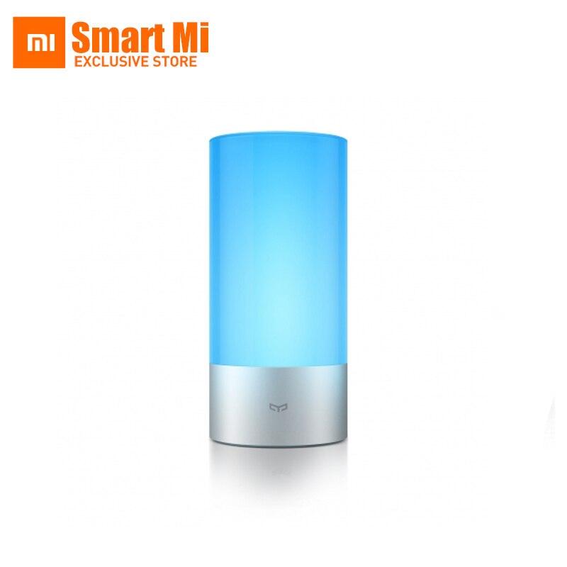 imágenes para 100% original xiaomi yeelight inteligente lámpara lámpara de la mesita de cama cubierta 16 millones de luces rgb remoto control táctil bluetooth para el teléfono