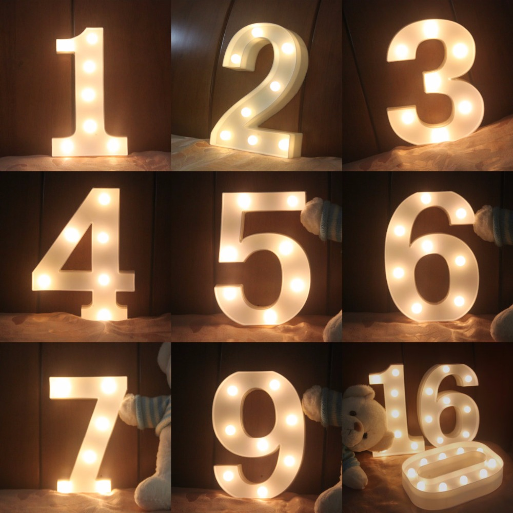 New LED luminous Arabic numerals night light creative Y Z English letters bedroom children room Party Club Bar clothing stores цена