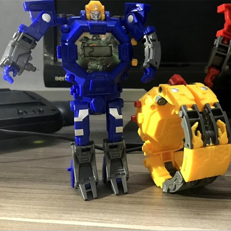 Livraison directe Robot Transformation montre-bracelet jouet Mecha Robot montre électronique enfants sport dessin animé montres enfants cadeaux de noël