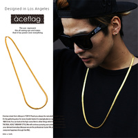 Fashion 2016 Hip Hop Famous Star 18k Jewelry Gold Plated Rock Golden Long Snake Chain Bling