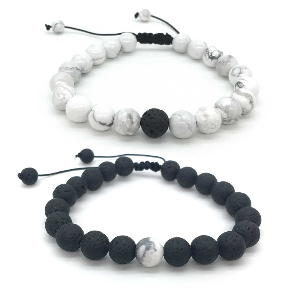1-2 pieces/Set 8mm Natural White stone Beads Lava Stone men bracelets Weave charm Couple Bracelet for men&women Jewellery