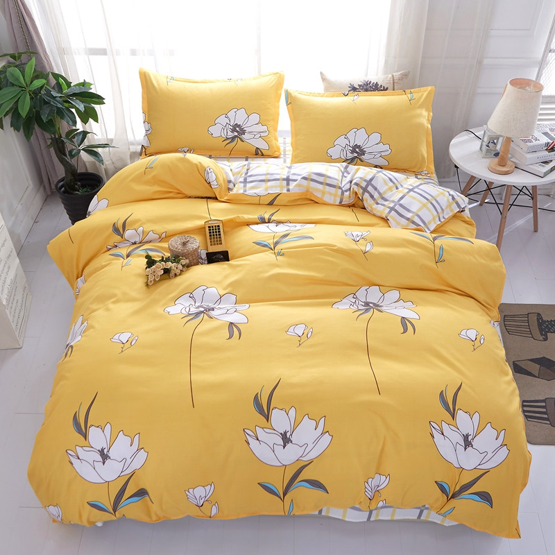 Yellow white Flower bedding set gray plaid bed sheet cartoon duvet cover quilt cover full twin queen king size popular
