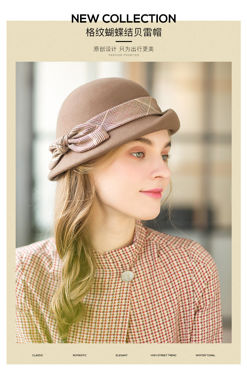 abbed8bedc9f89 2019 Lady Party Top Grade Pure Wool Felt Fedora Hat Women Autumn And ...