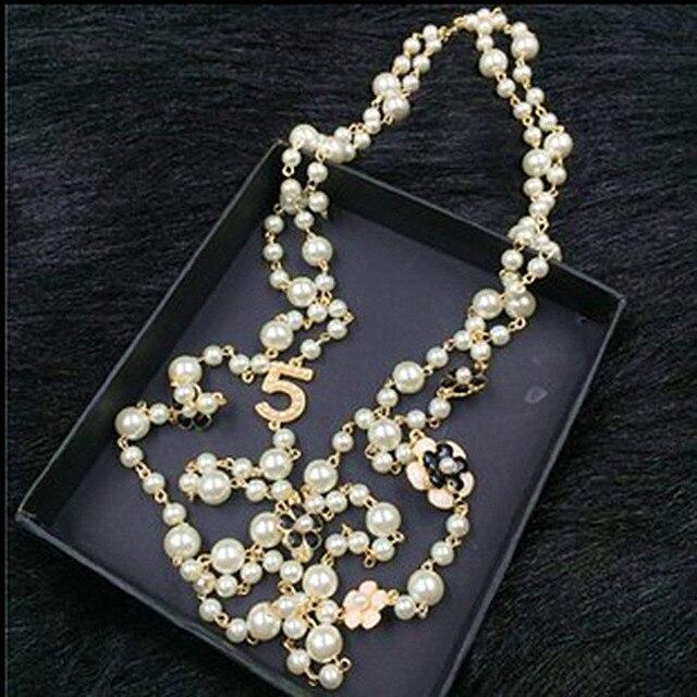 72882ecf7100 XL20 joyería famosa marca collar flores de perlas collar collier femme  perle collar collares largos accesorios