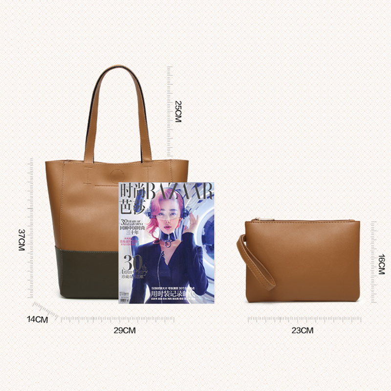Shoulderbag For Women 2019 High Quality Casual Female Bags Splice PU Leather Handbag Ladies Trunk Tote Large ShoulderBags Bolsos in Shoulder Bags from Luggage Bags