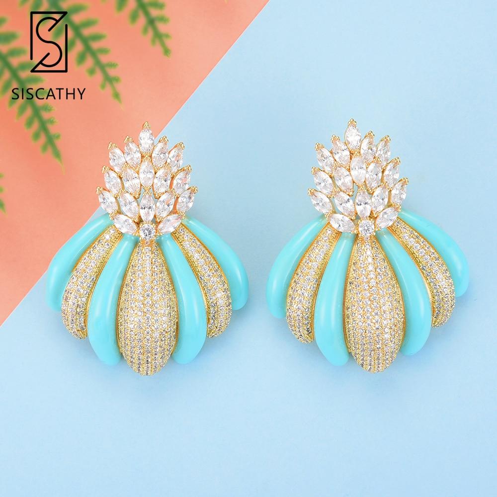 SISCATHY Luxury Dubai Indian Wedding Earrings Flower Shape Stud Earrings Full Cubic Zirconia Inlaid Jewelry boucle d'oreille
