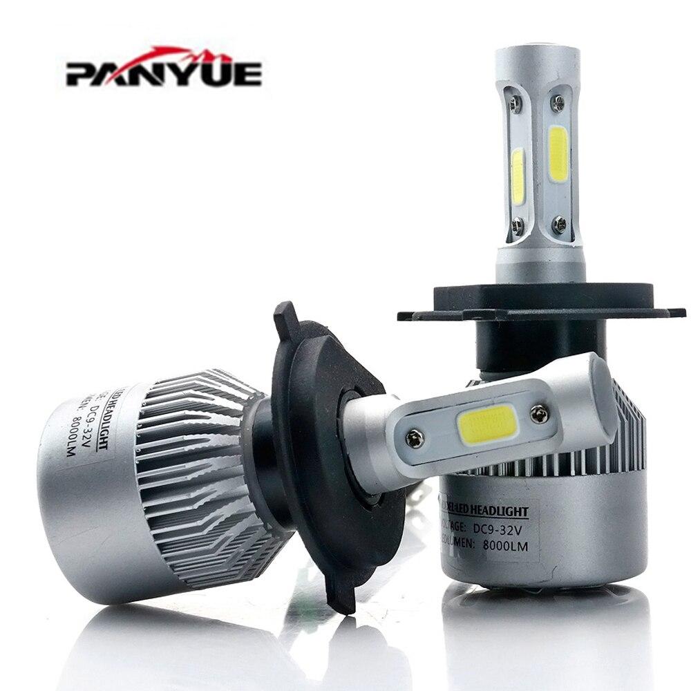 PANYUE Super brillante H4 LED H7 H11 H1 H3 COB Chip S2 Auto faro 72 W 8000LM alta baja y haz todo en uno automóviles lámpara