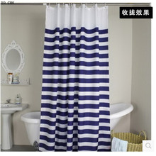 Hot Sale Navy European Classic Blue And White Waterproof Mildew Bathroom Curtain  Navy Blue Stripes Shower Curtain