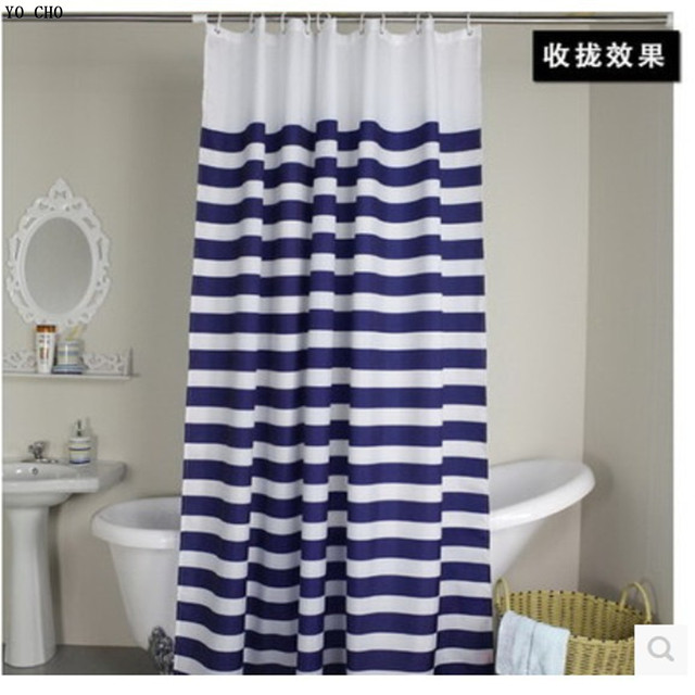 navy blue and white striped shower curtain. Hot sale Navy European classic blue and white waterproof mildew bathroom curtain  navy stripes shower