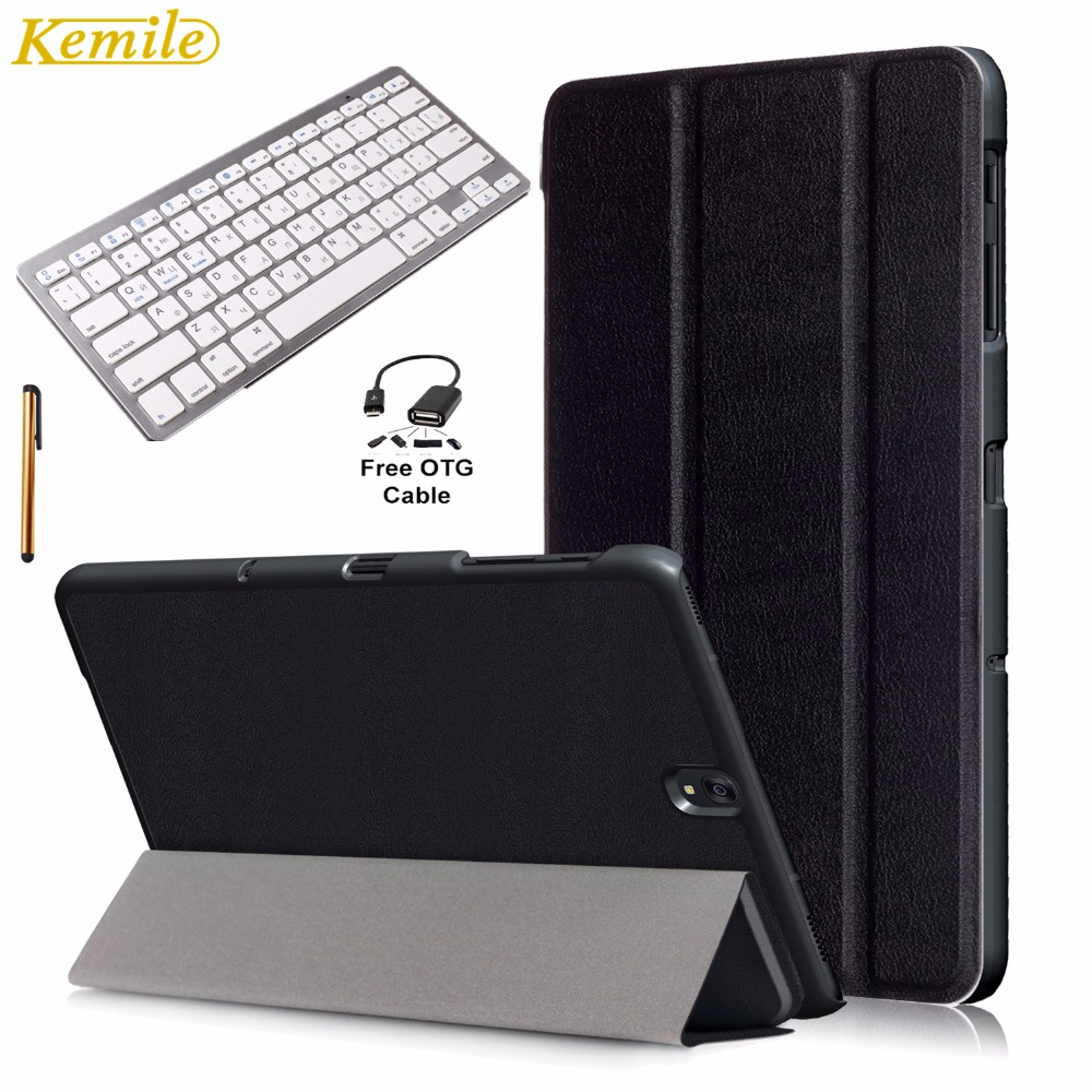 Kemile Ultra Slim Standing Smart Case Cover for Galaxy Tab S3 9.7 inch T820 T825 with Wireless Bluetooth 3.0 Russian Keyboard wireless bluetooth keyboard pu leather cover protective smart case for samsung galaxy tab s3 t820 t825 9 7 inch tablet gift