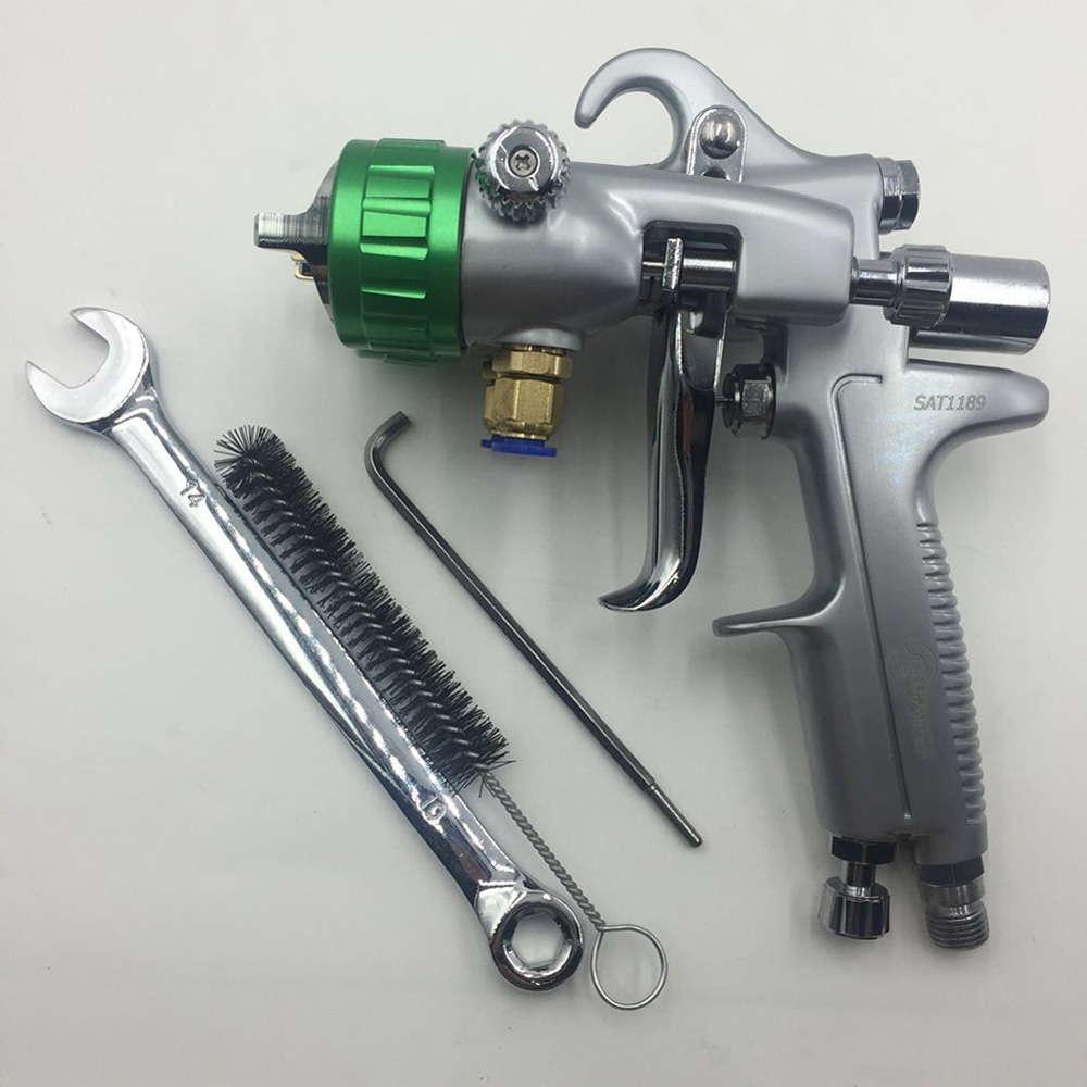 SAT1189 high quality airbrush kit pneumatic air gun two double nozzle china chrome paint for airbrush in Spray Guns from Tools