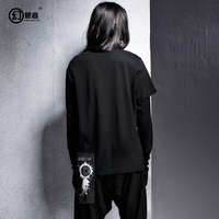 men Japanese original popular logo harajuku dark is irregular long sleeved sweatshirt off two fleece male winter