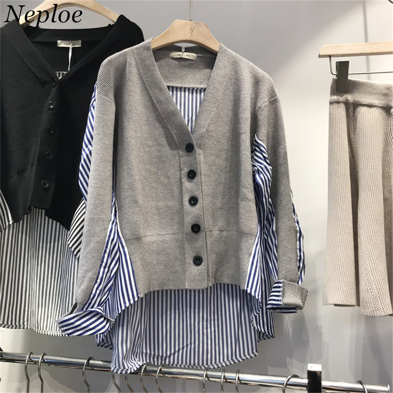 Collection Here Neploe Patchwork Stripped V-neck Women Cardigan Short Front Knitted Female Open Stich 2019 Autumn Winter New Sueter Mujer 69023 50% OFF Cardigans