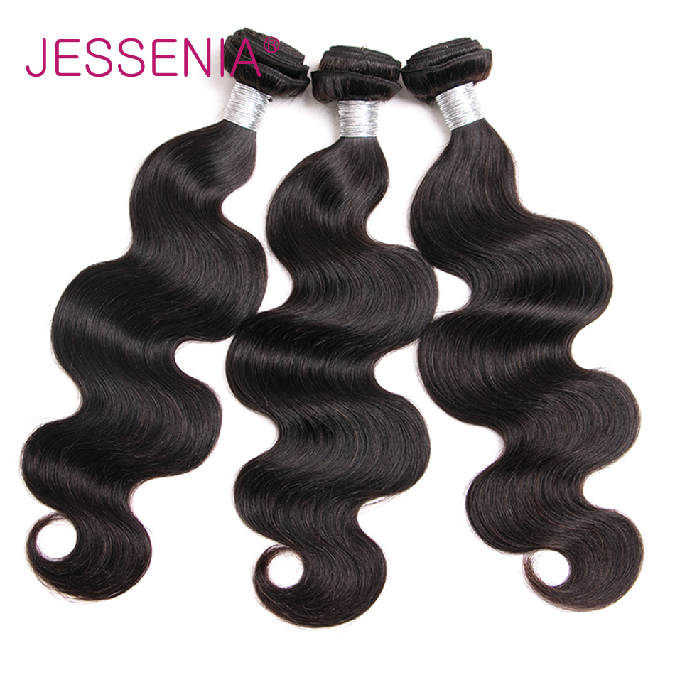 JESSENIA Hair Brazilian Body Wave 3 Bundles Non Remy Human Hair Extensions Weft 8-26 Inch Natural Color No Tangle No Shedding