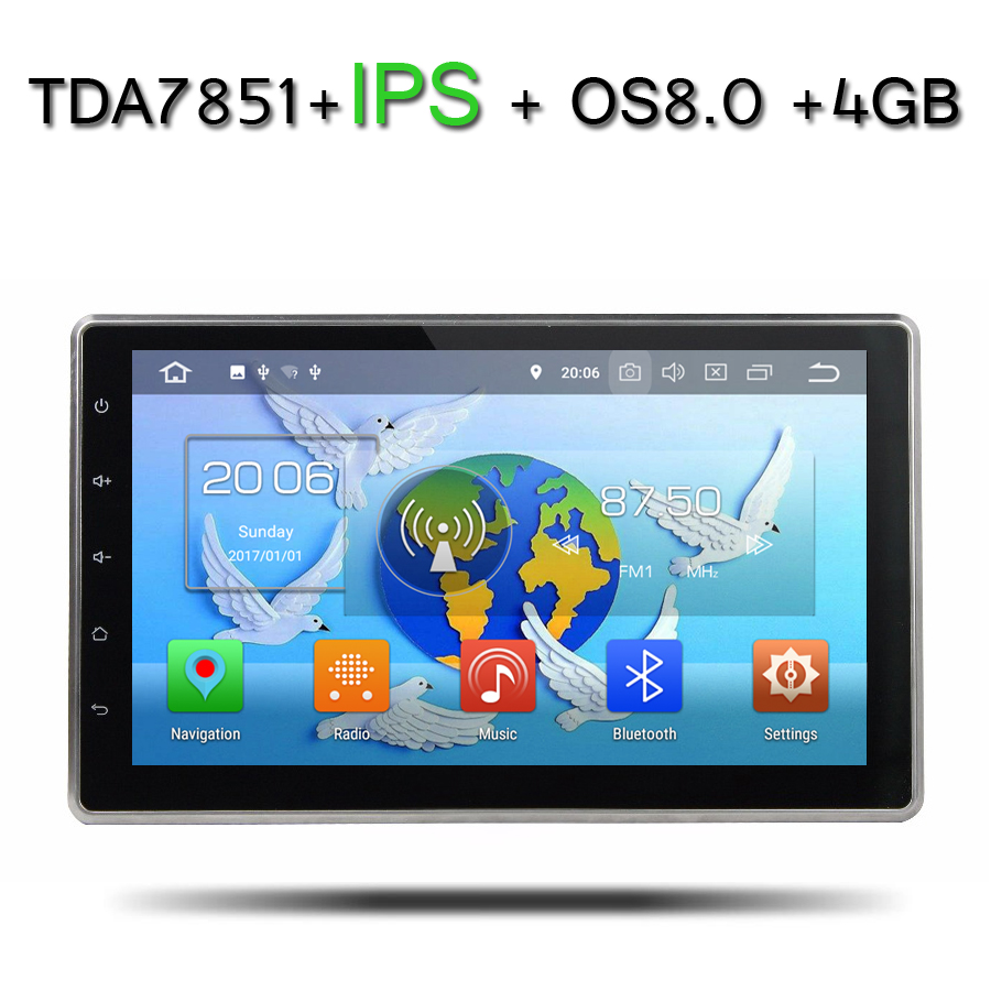 10.1 IPS TDA7851 2Din Android 8.0 For universal 4GB RAM 32GB ROM 8 Core Car DVD Player GPS Glonass RDS Radio wifi Bluetooth 4.0